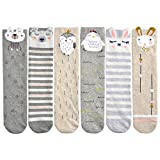 Epeius 6 Pair Pack Baby Girls Uniform Knee High SocksTube Cartoon Animal Stockings for 1-6 Years