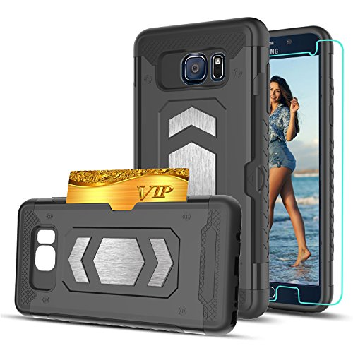 Note 5 Case,Galaxy Note 5 Case With HD Phone Screen Protector,Ymhxcy [Card Slots Wallet Holder] Magnetic Car Mount Armor Dual Layer Shockproof Case Cover For for Samsung Galaxy Note 5-HY Black