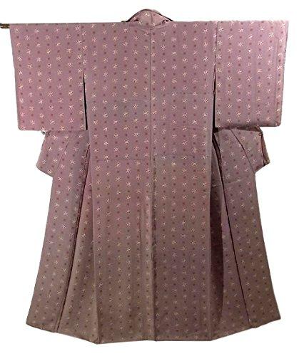 アンティーク 着物  花紋に花菱 正絹 袷 裄61.5cm 身丈155cm