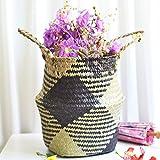 Hot Sale!DEESEE(TM)Seagrass Wicker Basket Wicker Basket Flower Pot Folding Basket Dirty Basket (B)