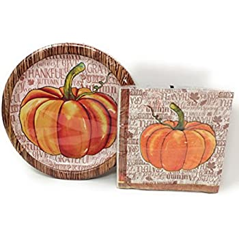 Autumn Harvest/Thanksgiving Decorative Paper Plates and Napkin Set (Pumpkin)  sc 1 st  Amazon.com & Amazon.com: Disposable Dinnerware Set - Serves 24 - Orange Party ...