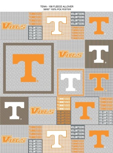 University of Tennessee Vols Block Print Polyester Fleece Fabric, Gray & Orange - Sold By the Yard