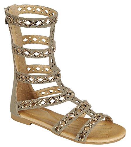 Cambridge Selezionare Donna Open Toe Caged Cutie Strappy Cristallo Strass Indietro Zip Mid-calf Piatto Gladiatore Sandalo Taupe Nbpu