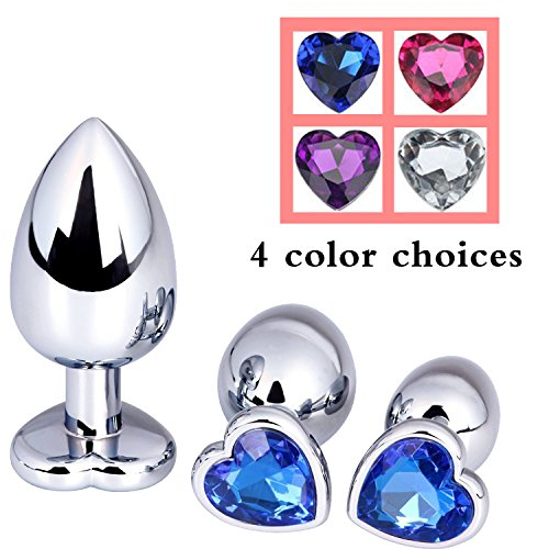 Upinva 3 Pcs Heart Shape Fetish Stainless Steel Metal Plated Jewelry Anal Plug Butt Sex Toys Love Games Personal Sex Massager (Blue)
