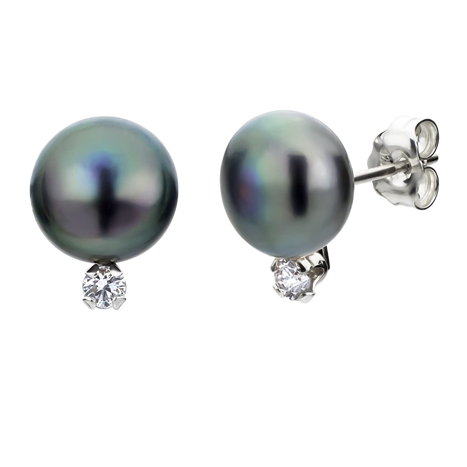 S. Silver 1/10cttw Diamond 8-8.5mm Dyed-black Button Shape Freshwater Cultured Pearl Stud Earrings
