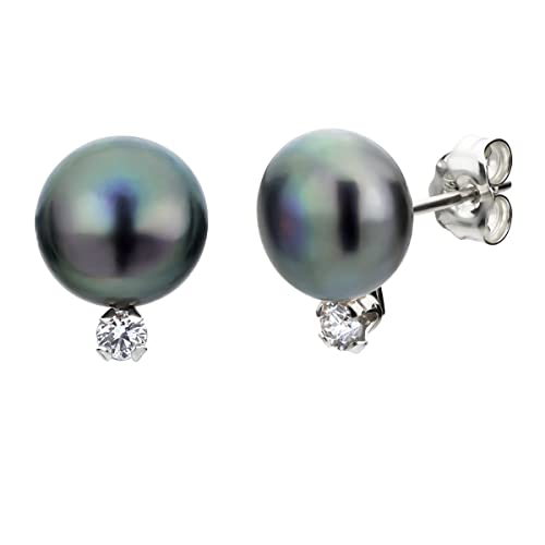 S. Silver 1 10cttw Diamond 8-8.5mm Dyed-black Button Shape Freshwater Cultured Pearl Stud Earrings