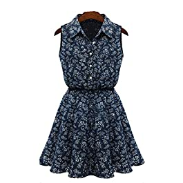 WYTong Ladies Cute Sleeveless Tunic Floral Mini Dress Turn-Down Collar Casual Slim Denim Dress
