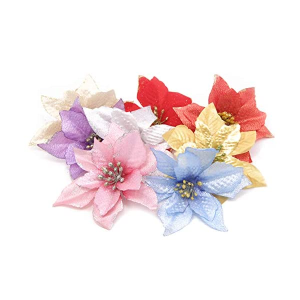 Apol 40 Pcs Glitter Poinsettia Flowers Glitter Artifical Wedding Christmas Flowers for Christmas Tree Ornaments