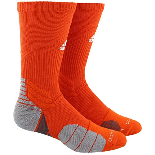 - adidas Traxion Menace Basketball/Football Crew Socks (1-Pack), Collegiate Orange/White/Light Onix/Onix, X-Large