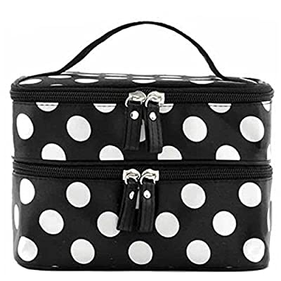 OrliverHL Cute Lady's Dot Pattern Makeup Case Double Layer Cosmetic Hand Bag Tool Storage Toiletry