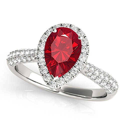 1 Ct. Ttw Diamond And Pear Shaped Created Ruby Ring In 10K White Gold