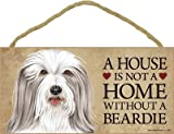 (SJT63905) A house is not a home without a Beardie (Bearded Collie) wood sign plaque 5