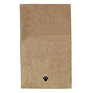 Bone Dry DII Microfiber Pet Bath Towel with Embroidered Paw Print, 44x27.5, Ultra-Absorbent & Machine Washable for Small, Medium, Large Dogs and Cats-Taupe