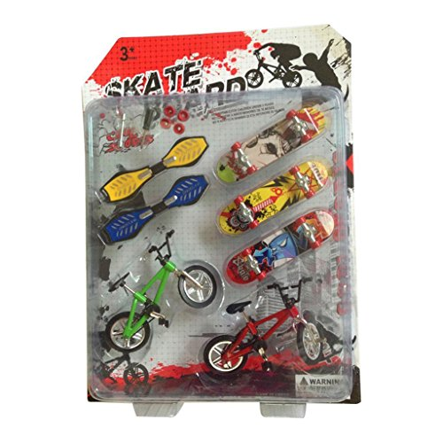 Plastic Skateboard Ramp (Khfun New Mini Plastic Skateboard With Finger Bike For Tech Deck Fingerboard Finger Board (3 Skateboard + 2 Bike + 2 Swing Board))
