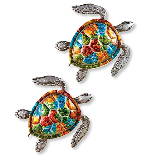Colorful Sea Turtles Metal Wall Art - Set of 2 - Seasonal Decorative Accent for Outdoor or Indoor Use