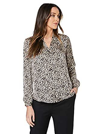 French Connection Women's Animal Print Button UP Shirt, Camel/Multi, Eight