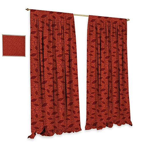 homefeel Burnt Orange Window Curtain Fabric Leafage Pattern with Victorian Lace Design Inspired Flower Petals Waterproof Window Curtain W96 x L84 Burnt Orange Burgundy (Flower Petal Design Knob)