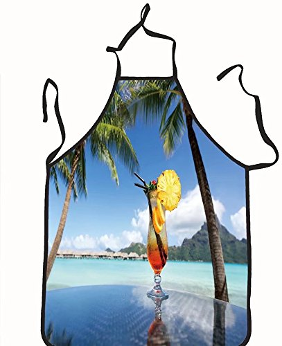chanrancase tailored apron Mai Tai Fruchtcocktail trinken am Strand unte Children, unisex kitchen apron, adjustable neck for barbecue 26.6x27.6+10.2(neck) (Tai Pan Pack)