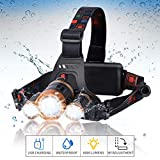 LED Headlamp Flashlight Waterproof Headlamp - Brightest headlamp High 6000 Lumen Work Headlight with 4 Mode IP45 Head Lamp of 18650 USB Rechargeable for Camping and Outdoor Sports Zoomable Headlamps