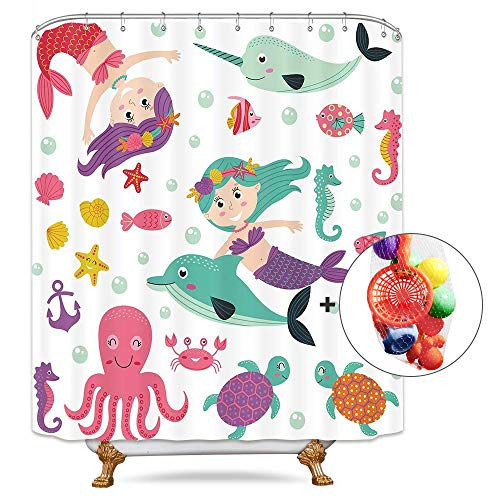 (Riyidecor little Mermaid Princess Shower Curtain Cartoon Kids Girls Colorful Ocean Sea Animals Octopus Dolphin Free Bath Toys Metal Hooks 12-pack Funny Decor Fabric Set Polyester waterproof 72x72 Inch)