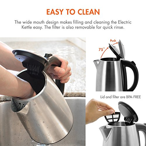 Tenergy Stainless Steel Kettle 1.7L 1500W Fast Boiling Tea Cordless Electric Water with Dry LED Indicator