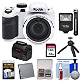 KODAK PIXPRO AZ421 Astro Zoom Digital Camera (White) with 32GB Card + Battery + Case + Flash + Tripod + Kit