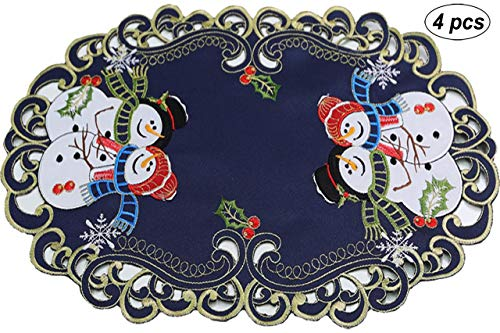 Creative Linens 4PCS Holiday Christmas Snowman Placemats 11x17 Oval Embroidered Snowmen Snowflake Poinsettia Winter Tray Cloths Blue Gold, Set of 4 Pieces