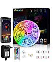 LED Strip 5M, Romwish RGB SMD 5050 Bluetooth Music Sync LED Strip LED-Ljusremsa, APP-Kontroll och 44-Tangenters Fjärrkontroll för Hem, Kök, Fest, TV, Dekor