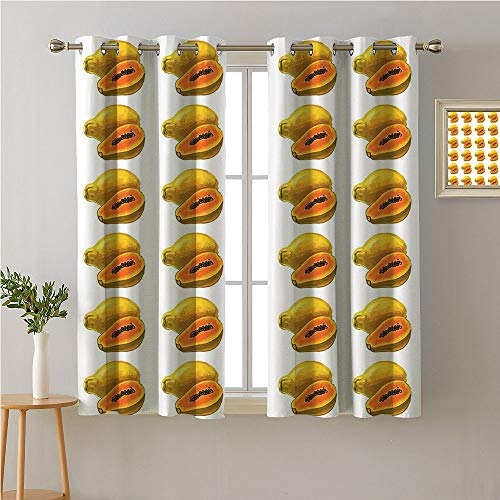 Jinguizi Tropical Grommet Curtain for Living Room,Watercolor Style Exotic Fruit Australian Farmland Agriculture Produce,Soft Darkening Curtains,63W x 72L