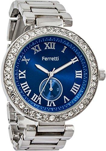 Ferretti Women's | Glamourous Silver-Tone Diamond-Studded Bezel Bracelet Watch | FT12602 (Studded Bezel)
