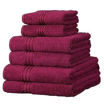 Linens Limited - 6 toallas de hotel - 100% extraordinario algodón egipcio - Vino: Amazon.es: Hogar