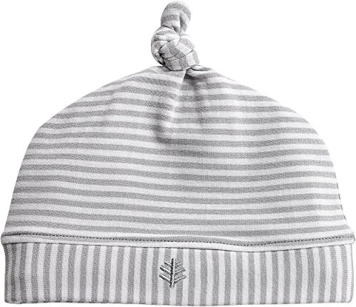 Coolibar UPF 50+ Baby Beanie Hat - Sun Protective (One Size- Grey/White Feeder - Block Knit Beanie Reversible