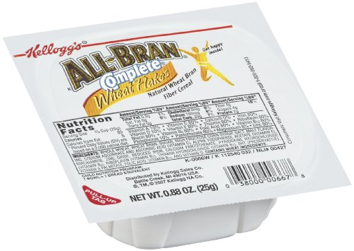 Wheat Bran Cereal - All-Bran Kellogg's, Breakfast Cereal in a Cup, Complete Wheat Flakes, Excellent Source of Fiber, Bulk Size, 96 Count (Pack of 96, 0.88 oz Cups)
