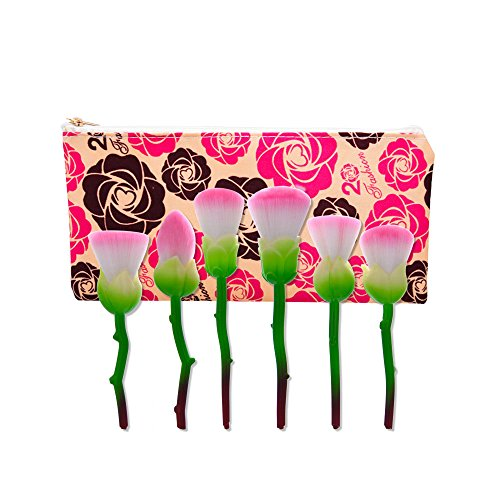 Kasla 8 Pieces makeup brush rose makeup make-up tool beauty and wild beast brush (Green rattan color)