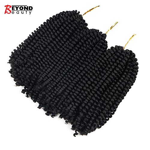 3 Pack Spring Twist Ombre Colors Crochet Braids Synthetic Braiding Hair Extensions Low Temperature Fiber (1B) from Beyond Beauty