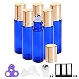 prettycare Essential Oil Roller Bottles 10ml ( Blue Glass Bottles, 6 Pack, 2 Extra Roller Balls, 12 Labels, Opener, 2 Funnels by PrettyCare ) Roller Balls For Essential Oils, Roll on Bottles