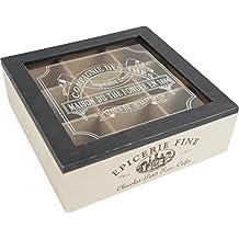 French Style Wooden Tea Box Tea Bag Caddy 9 Nine Sachet Compartment Vintage Chest