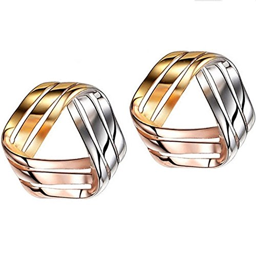 - 925 Sterling Silver Love Knot Earrings Tricolor 3-Tone Stud Fashion Jewelry for Teens Girls Women