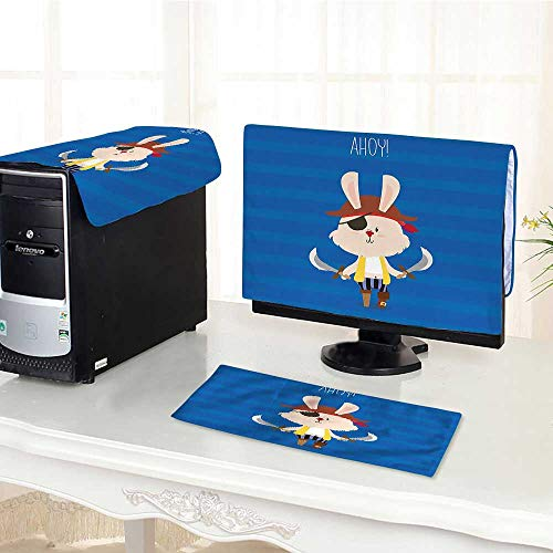Auraisehome Desktop Computer Cover 3 Pieces a Boy Pretty Pirate Rabbit Bunny with Eye Patch and Swords Funny Graphic Scratch Resistance /28