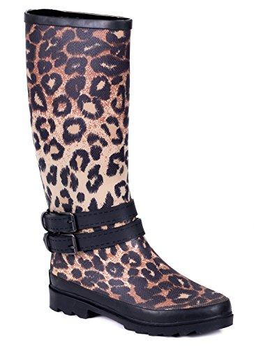 con goma Couture de Forever Mujer Leopard Botas revestimiento lluvia Young de twHx7qO4