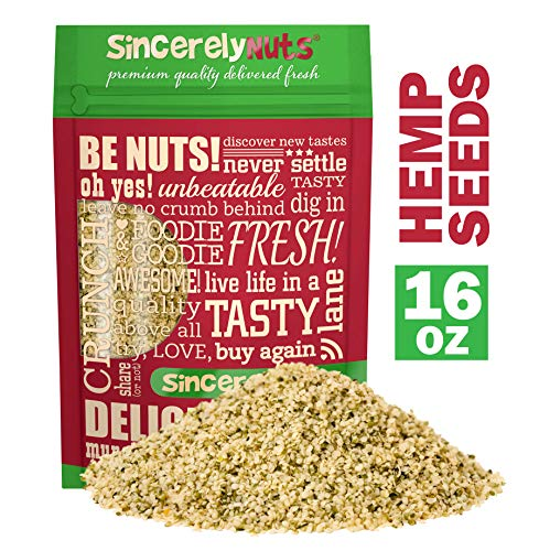 Sincerely Nuts Hulled Hemp Seeds - (1 lb bag) All Natural Super Food   Natures Complete Protein Contains All 9 Essential Amino Acids   Heart Healthy Omega 3 Fat   Non GMO, Kosher, Gluten Free, Raw (Foods That Contain All 9 Essential Amino Acids)