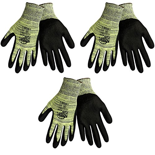 Tsunami Grip CR609 Tuff Hybrid Cut Resistant Nitrile Coated Work Glove Sizes S-XL, (3 Pair Pack) (Large) (Grip Tsunami)