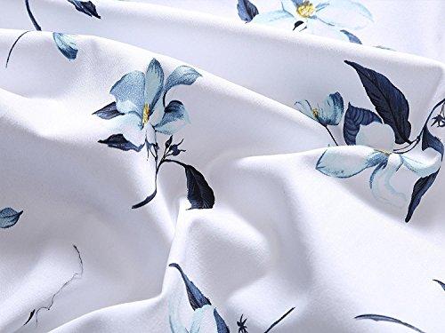 Aecibzo Floreale Donne Bicchierino Contrasto Partito Dell'annata Casuale Dall'oscillazione Nero bianco Del Chiarore Vestito Manica zFwdrqz