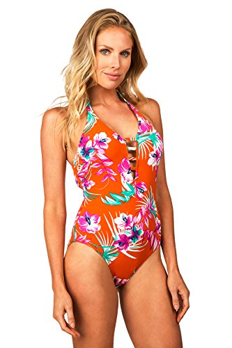 Leilani Women's Bali Sun Marianas Strappy Front Halter One Piece Swimsuit-8-Mlt