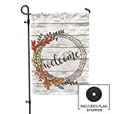 Second East Welcome Rustic Fall Garden Flag Outdoor Patio Seasonal Holiday