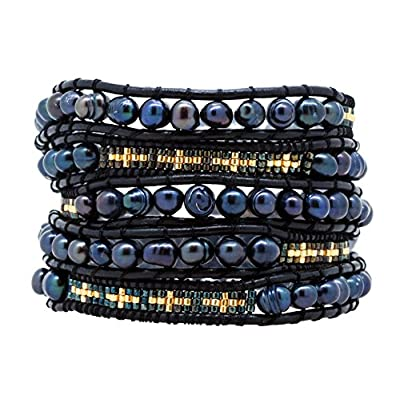 Hot Womens Long Seed Bead Dyed Freshwater Cultured Pearl Wrap Around Leather Bracelet