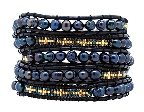Pearl Around Wrap (Mandala Crafts Womens Long Seed Bead Dyed Freshwater Cultured Pearl Wrap Around Leather Bracelet (Black & Gold Tone))