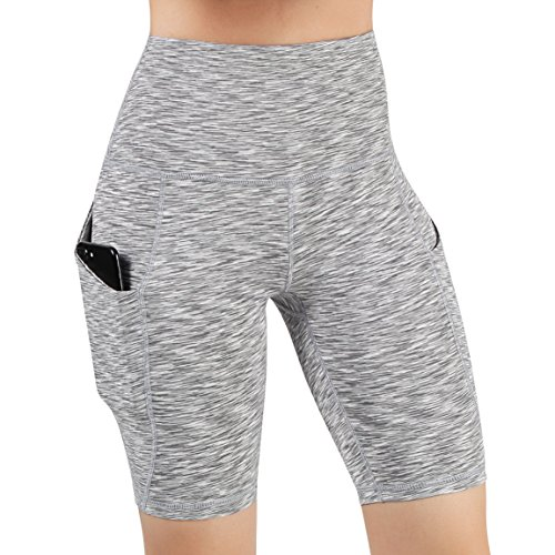 (ODODOS High Waist Out Pocket Yoga Short Tummy Control Workout Running Athletic Non See-Through Yoga Shorts,SpaceDyeGray,Large )