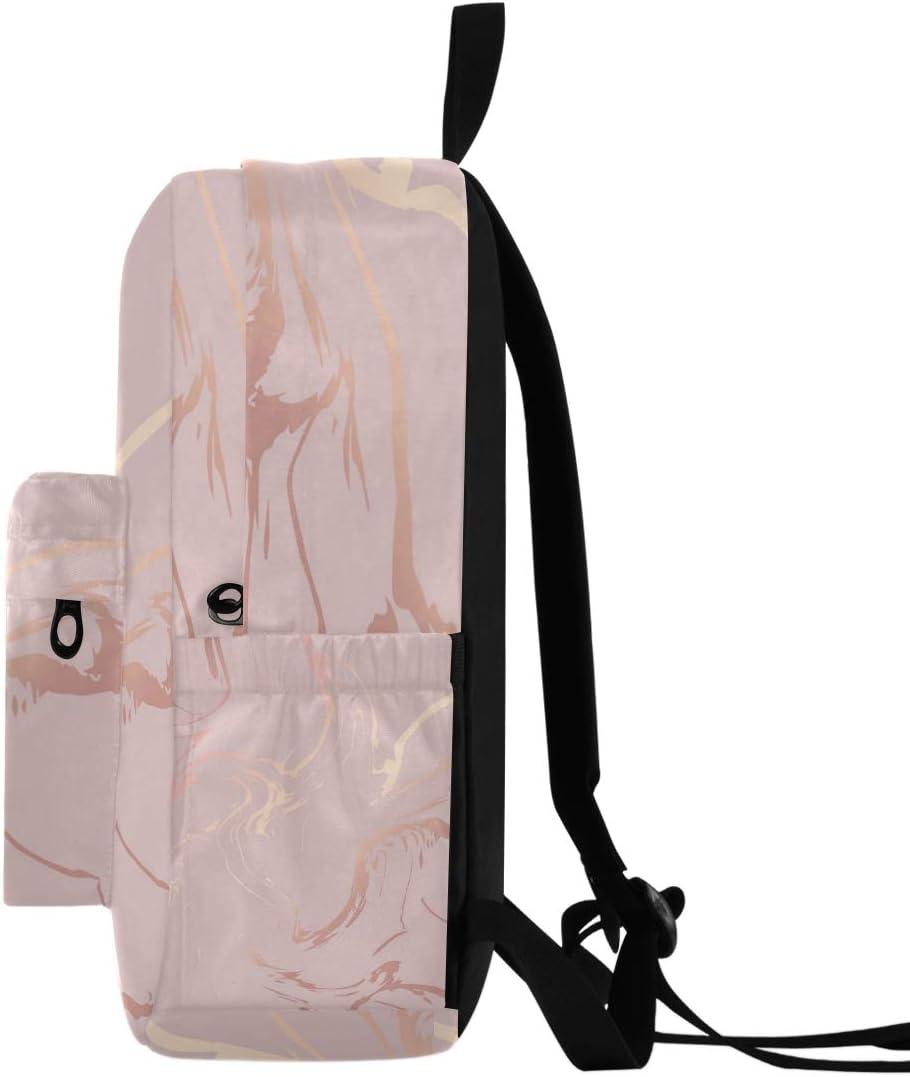 Rose Gold Marble Lightweight Backpack Bookbags Packable Hiking Camping Travel Daypack Laptop Backpacks College Students School Book Bag for Teens Men Women Kids Boys Girls