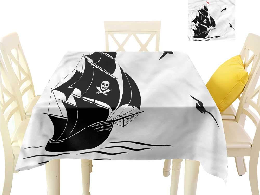 WilliamsDecor Dinning Tabletop Decoration Pirate,Silhouette of Old Sail Ship Outdoor Picnics W 70'' x L 70''